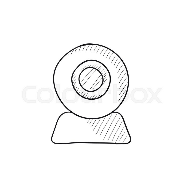 800x800 Web Camera Vector Sketch Icon Isolated On Background. Hand Drawn