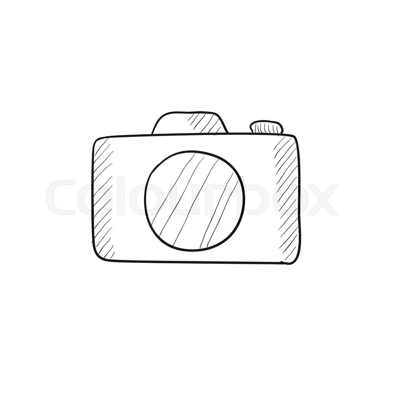 800x800 Camera Vector Sketch Icon Isolated On Background. Hand Drawn