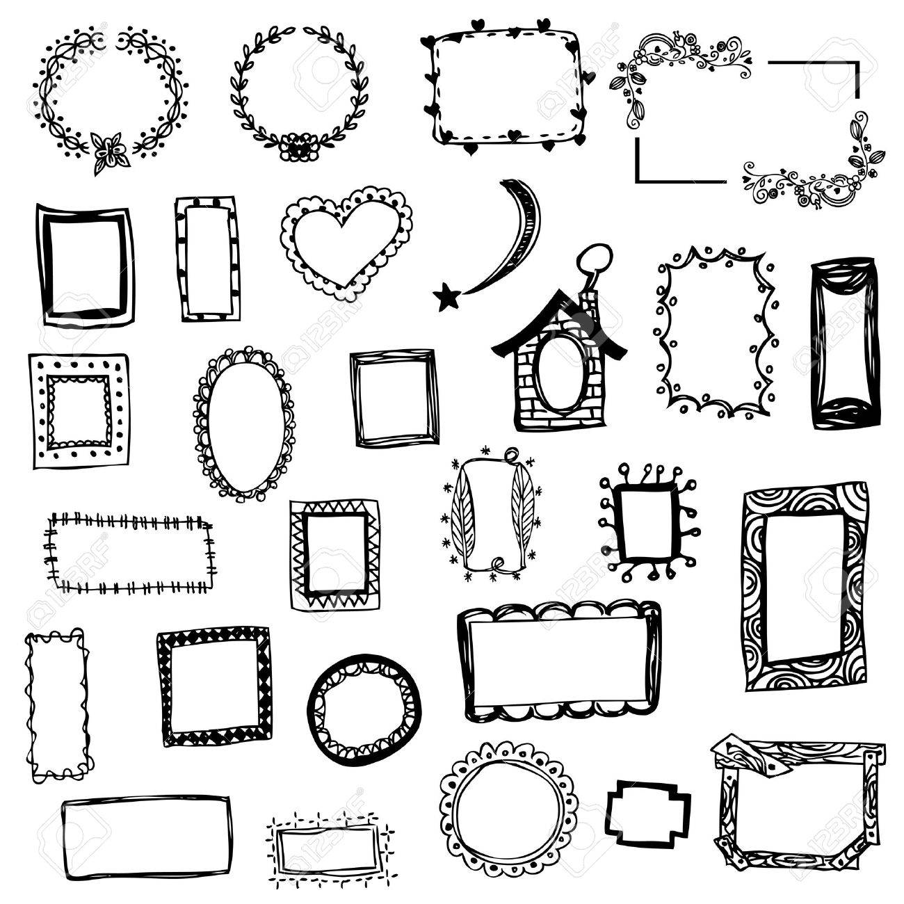 1300x1300 Free Hand Drawing Of Picture Frame Vector Illustration On White