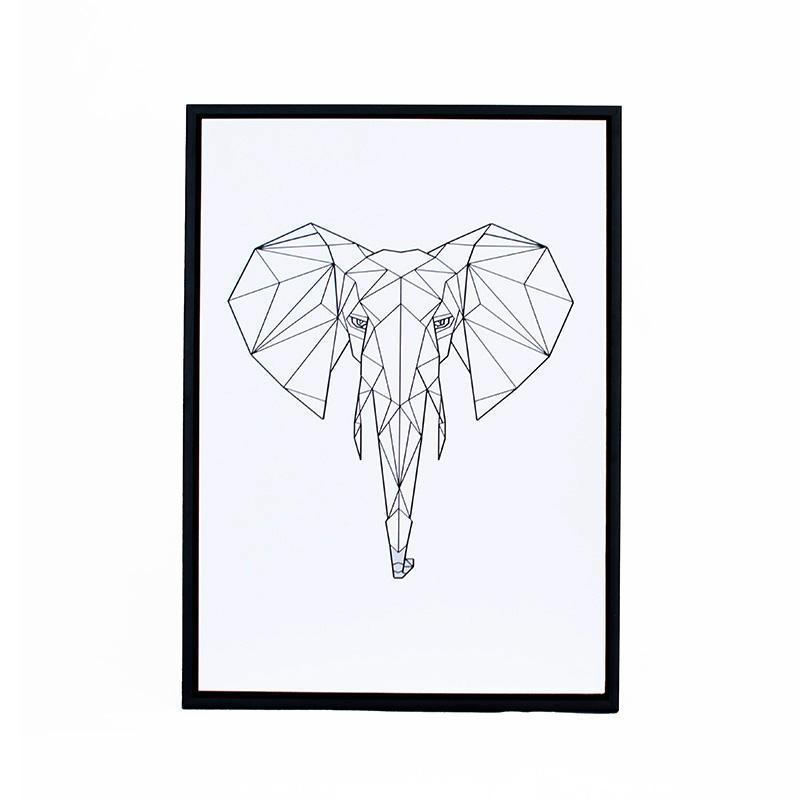 800x800 Geometric Elephant Print In Black Frames