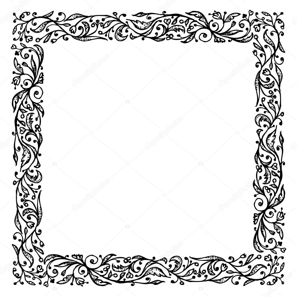 1024x1024 Ornamental Frame, Hand Drawing For Your Design Stock Vector