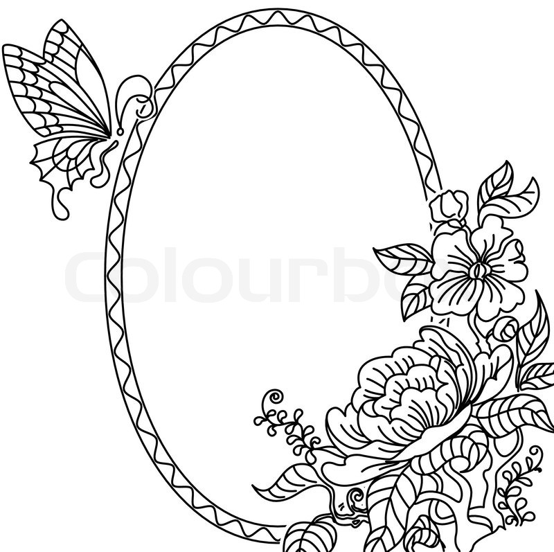 800x797 Peony And Butterfly Frame Bw Stock Vector Colourbox