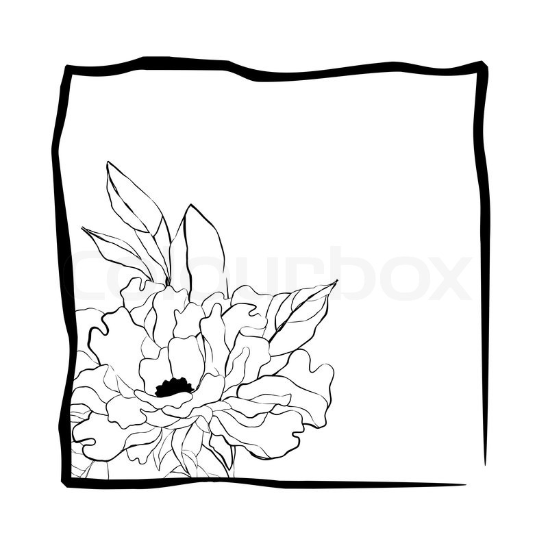 800x800 Pretty Flower In Frame In Sketch Style Stock Vector Colourbox