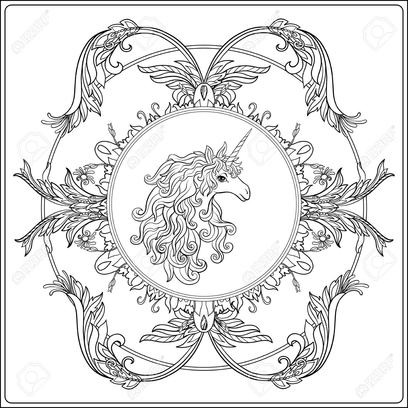 1300x1300 Unicorn In The Frame, Arabesque In The Royal, Medieval Style