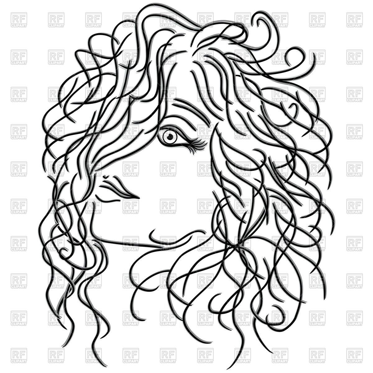 1200x1200 Girl With Flowing Curly Hair, Sketch Royalty Free Vector Clip Art