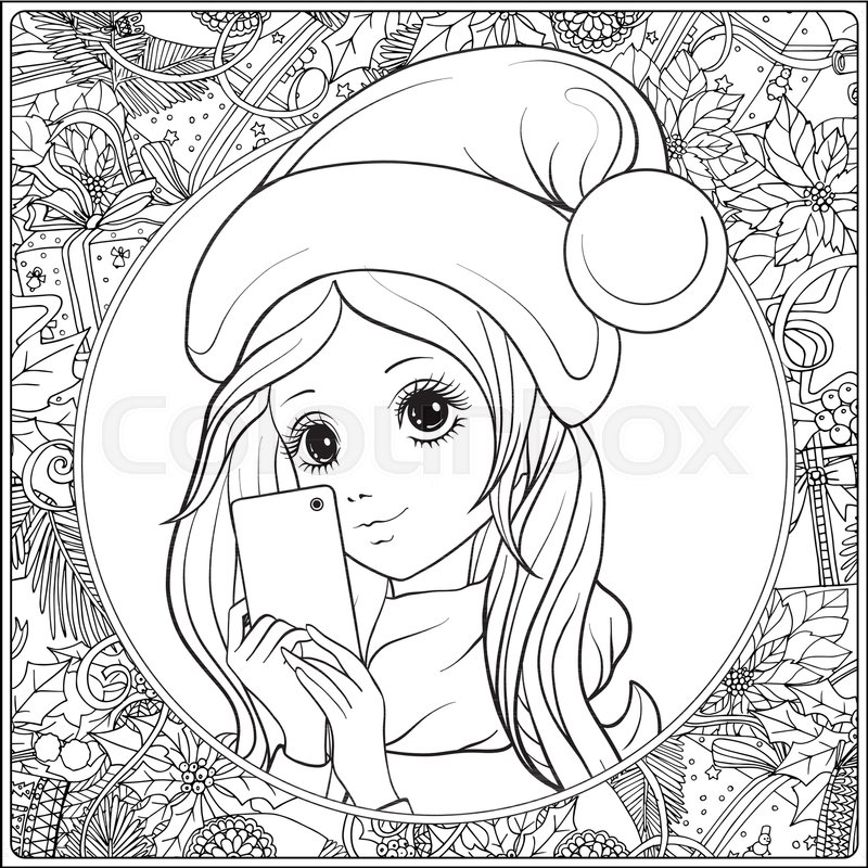 800x800 Young Nice Girl With Long Hear And Santa Claus Hat On Her Head