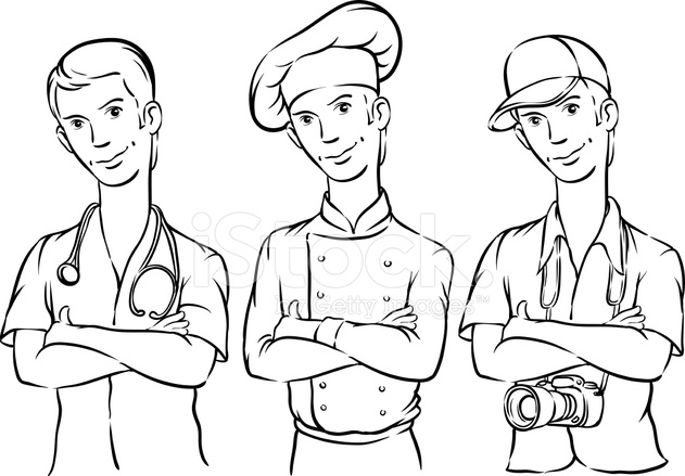 631x439 Whiteboard Drawing Doctor Chef And Photographer Stock Vector