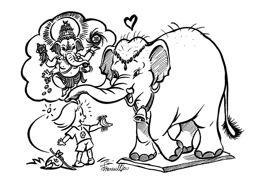 900x634 Papui And Ganesh Drawing By Emanuele Scanziani