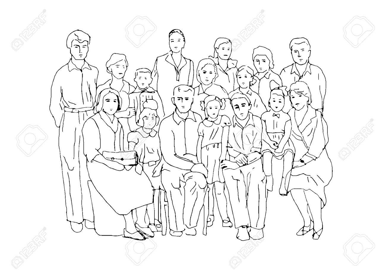 1300x910 Sketch In The Style Of Old Photographs Illustrating Family Life