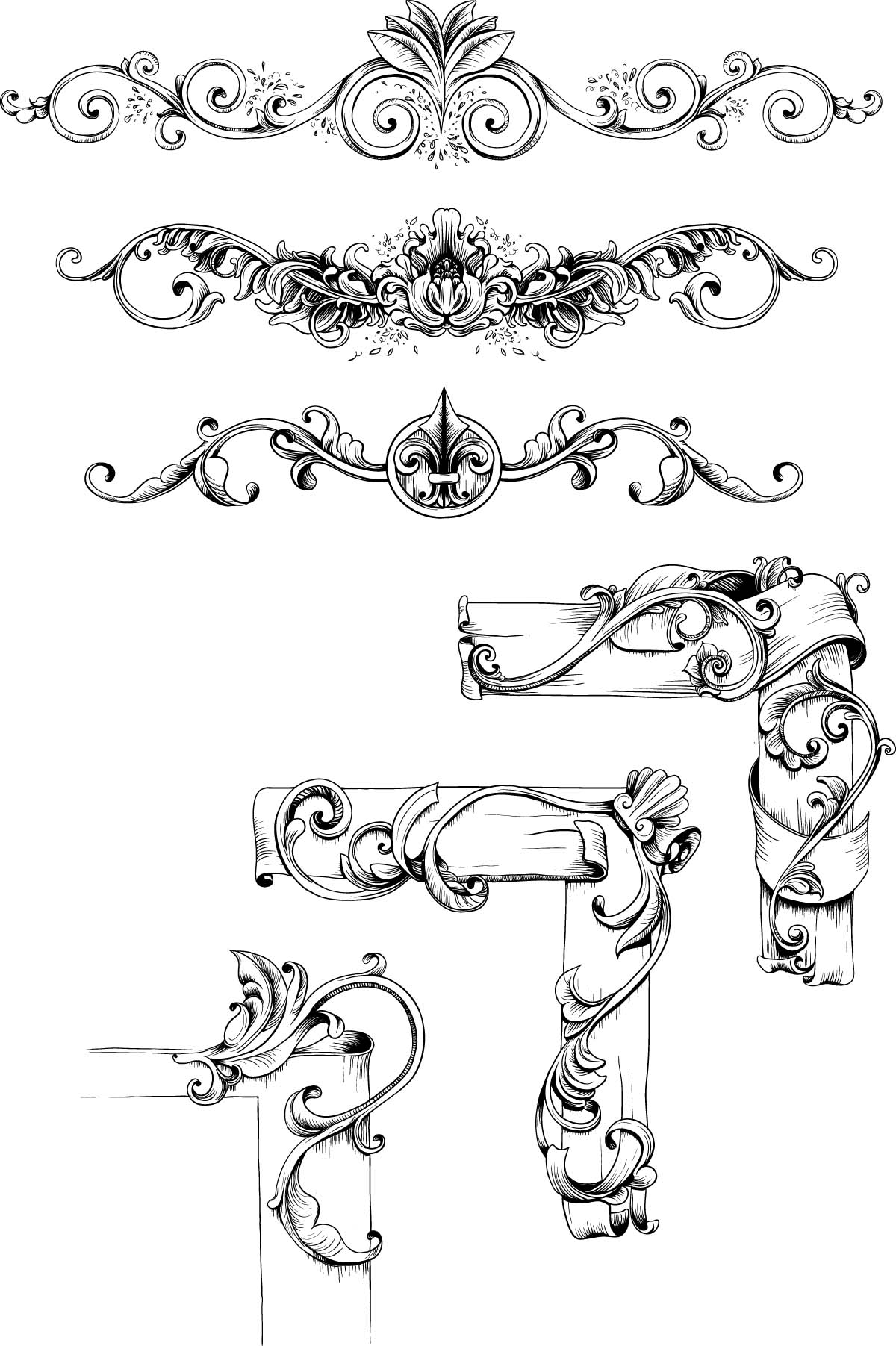 1200x1803 Decorative Borders Vintage Set Vector Free Vintage Decorative