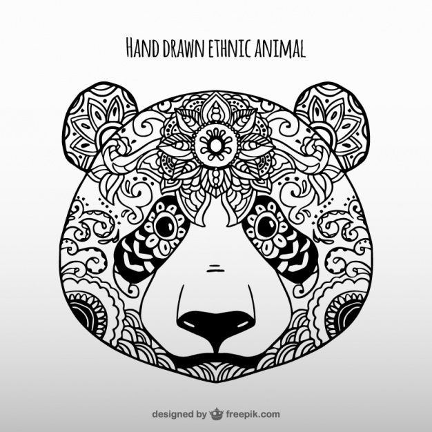 626x626 Hand Drawn Ethnic Panda Vector Free Download Panda Bears