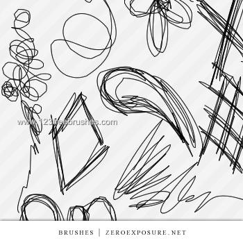 350x350 Sketch Scribble Set Adobe Brush Free Download 123freebrushes
