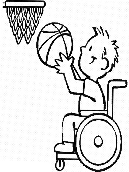 550x733 The Child Disabilities Athlete Basketball Coloring Page
