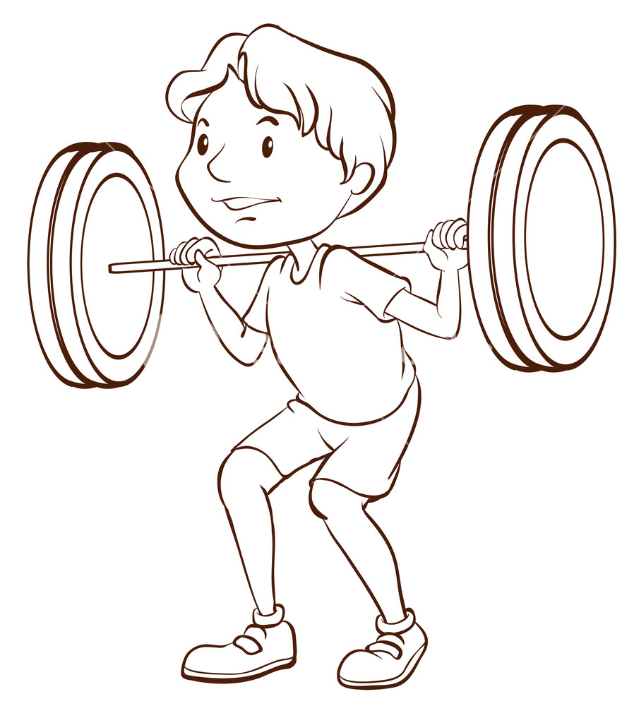 898x1000 Illustration Of A Simple Sketch Of A Boy Training On A White