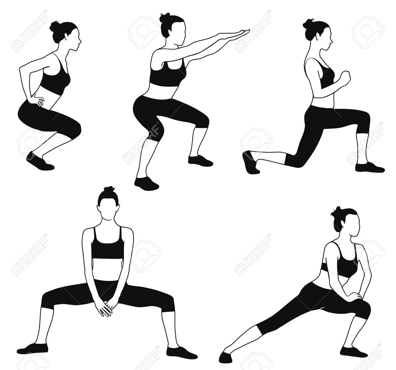 1300x1214 Silhouette Of Woman In Sport Dress Doing Fitness Exercises