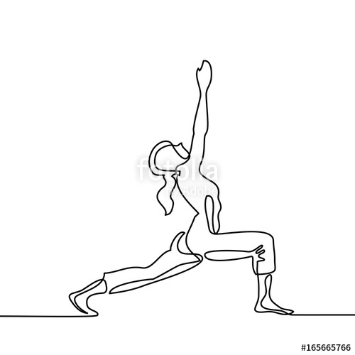 500x500 Continuous Line Drawing. Woman Doing Exercise In Yoga Pose. Vector