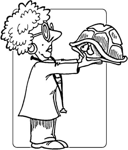 410x480 Veterinary Physician And A Shy Turtle Coloring Page Free
