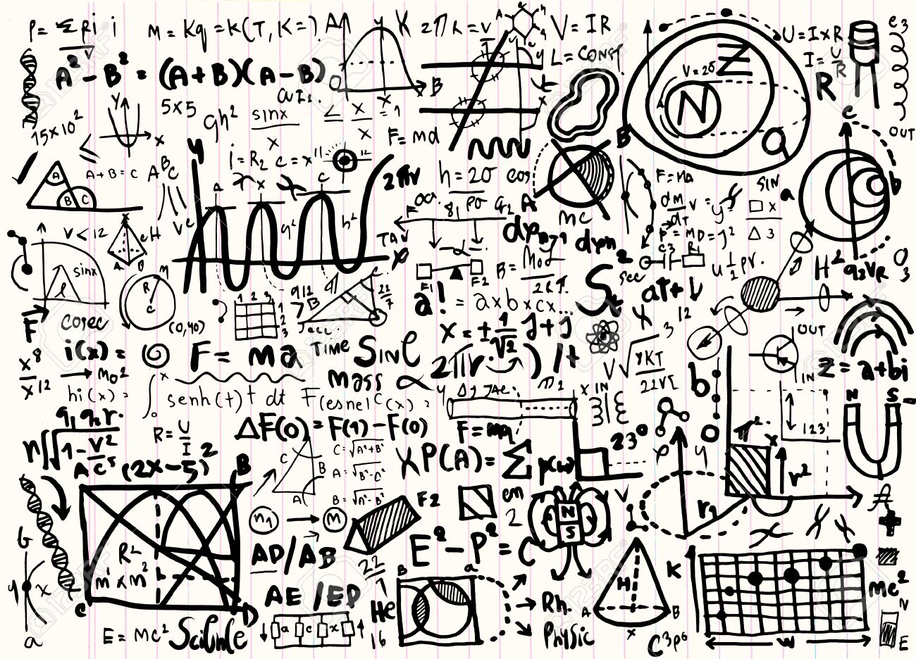 1300x936 Physical Formulas And Phenomenon. Hand Drawn Illustration. Science