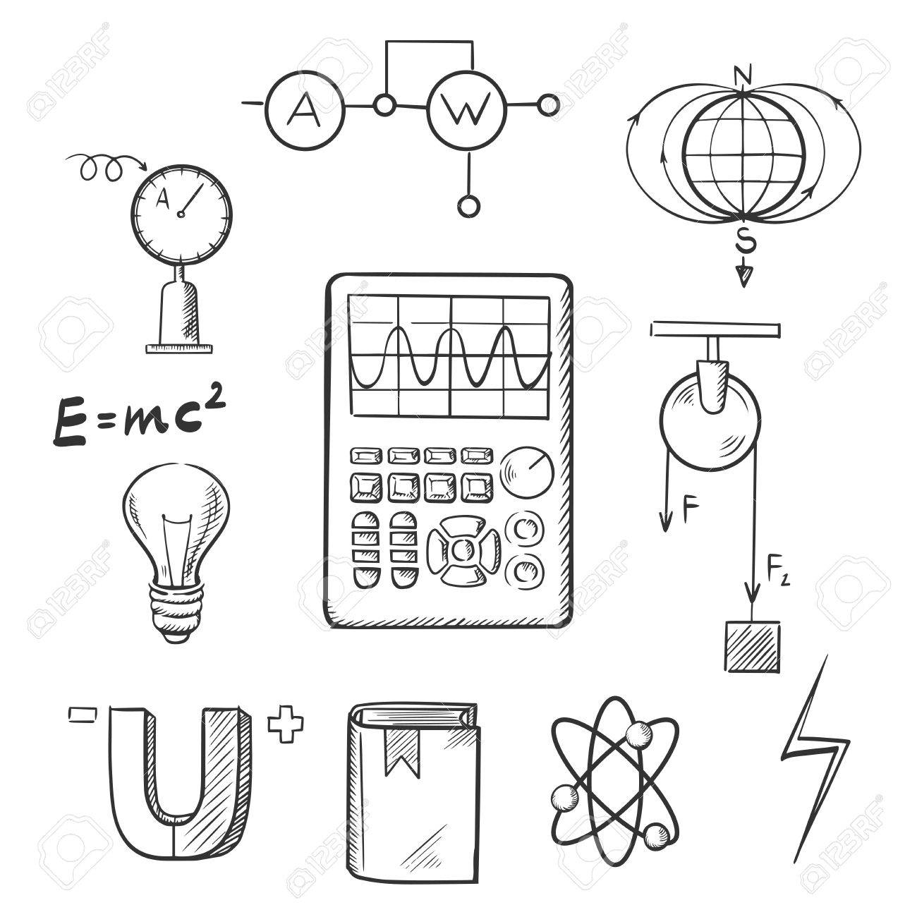 1300x1300 Science Sketch Icons Set With Symbols Of Physics Such As Magnet