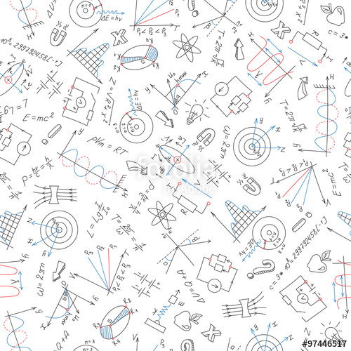 500x500 Seamless Pattern With Formulas,graphs, And Equipment As