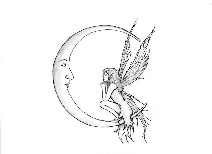 900x654 Fairy drawings Fairy And Moon By ~cherry Pi