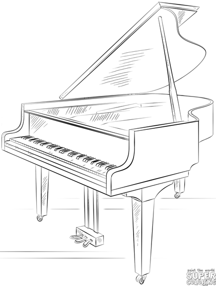 435x575 How To Draw A Grand Piano Step By Step Drawing Tutorials