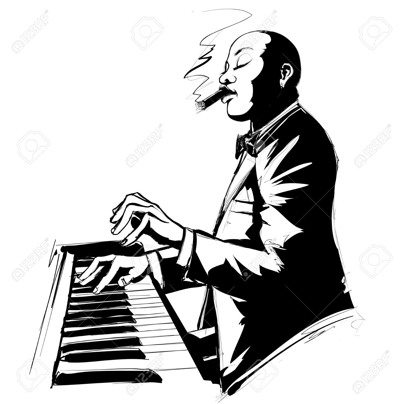 1300x1300 Jazz Pianist In Black And White Smoking Cigar