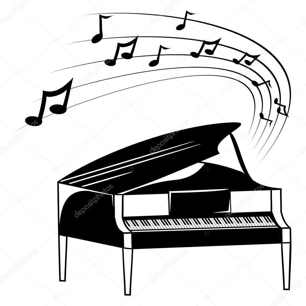 1024x1024 Piano And Music Notes Stock Vector Oxygen64