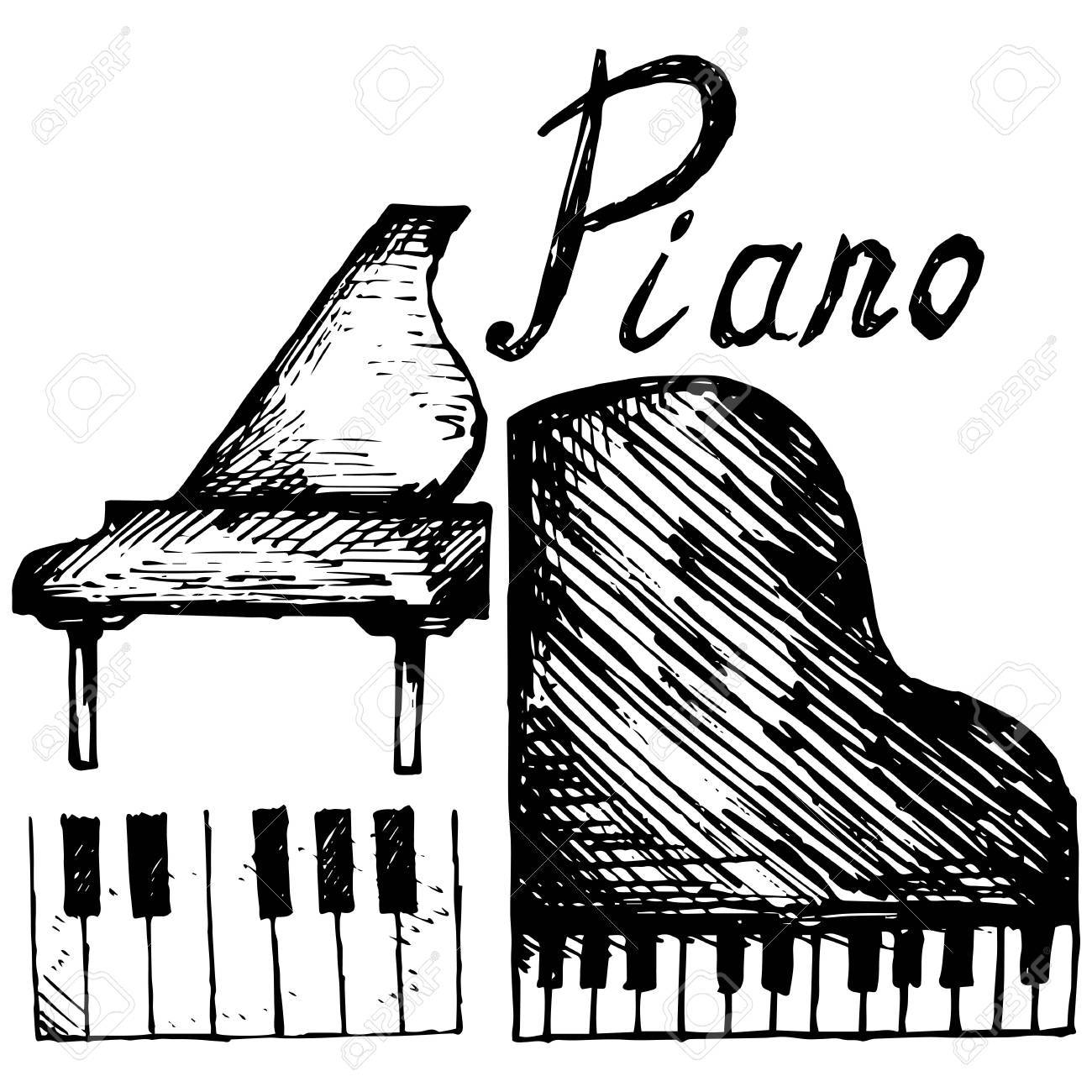 1300x1300 Set Piano Illustration In Doodle Style Royalty Free Cliparts