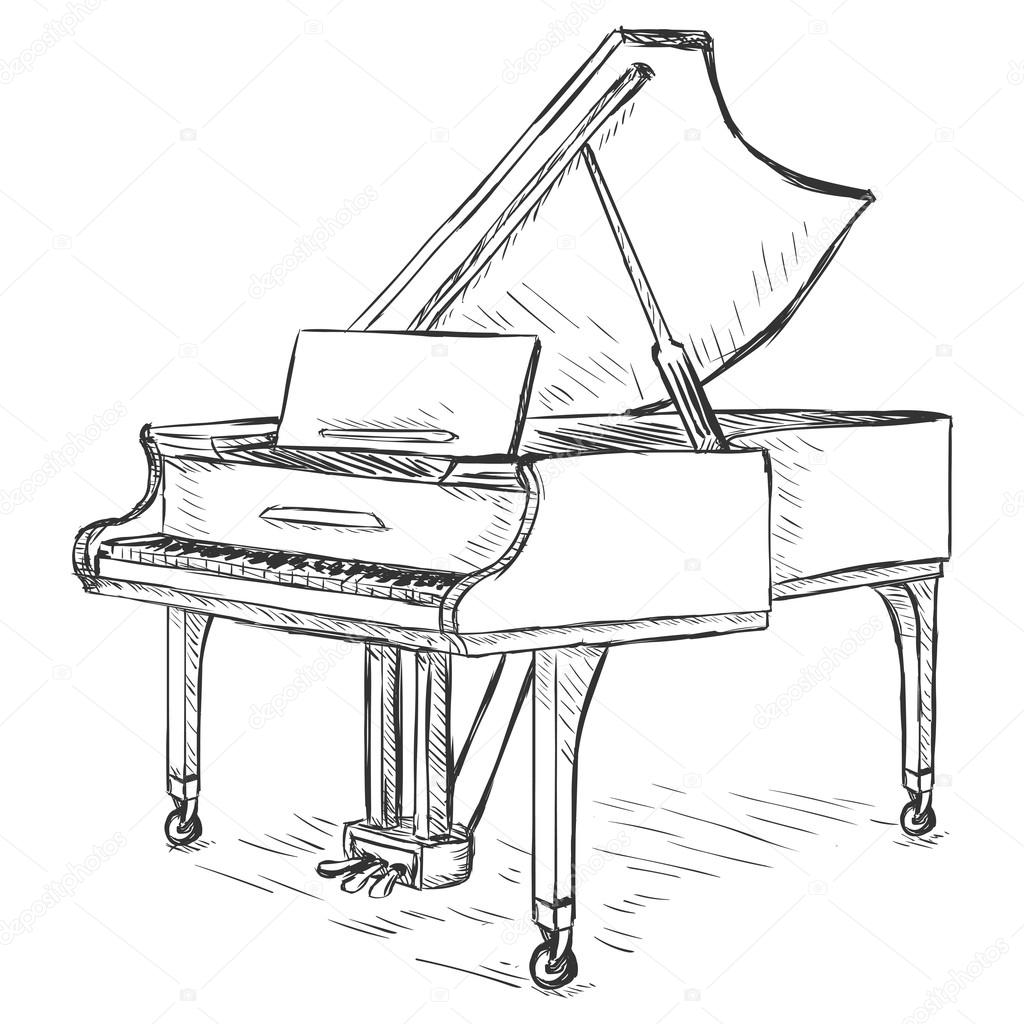1024x1024 Vector Sketch Grand Piano Stock Vector Nikiteev