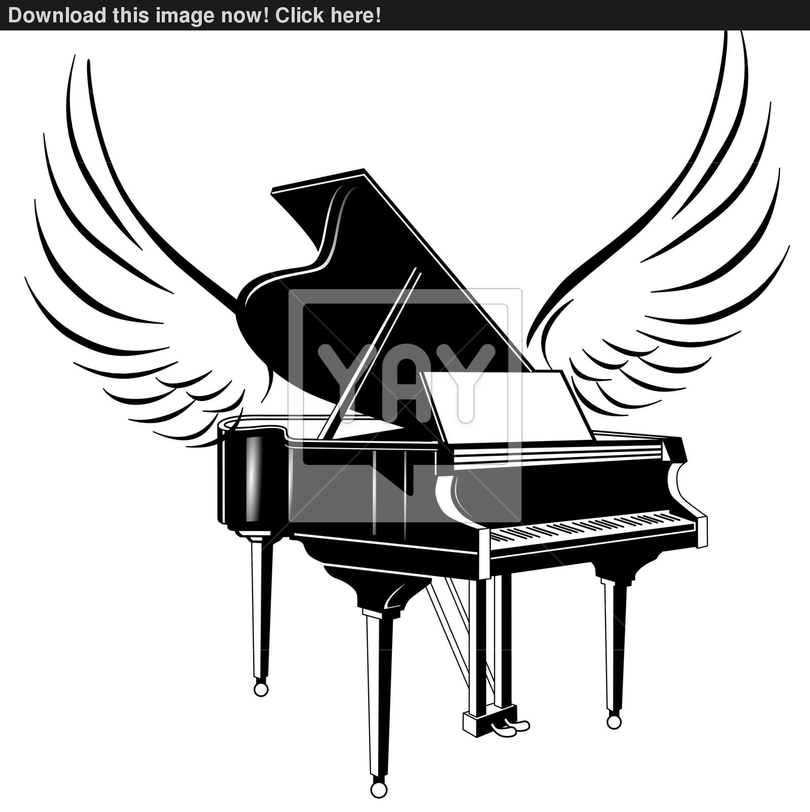 1597x1600 Grand Piano And Flying Wing Vector