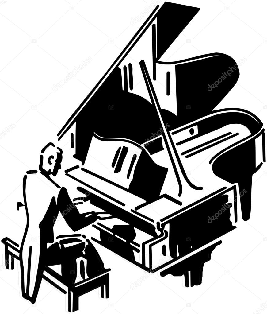 871x1023 Concert Pianist Stock Vector Retroclipart