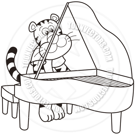 460x460 Cartoon Tiger Playing A Piano By Toon Vectors Eps