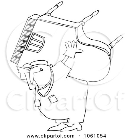450x470 Cartoon Of A Classical Music Composer Smiling And Playing A Piano
