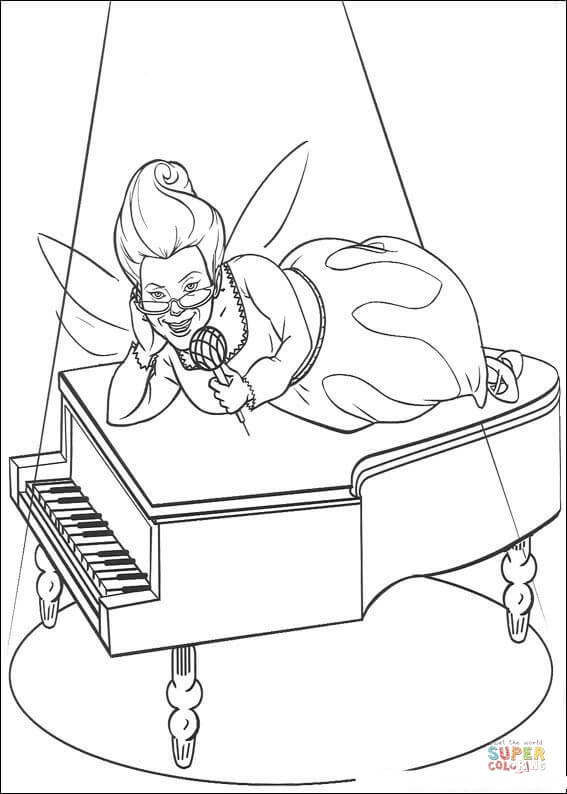 567x794 Fairy Is Singing On The Piano Coloring Page Free Printable