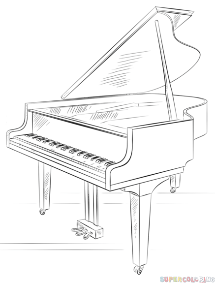 437x575 How To Draw A Grand Piano Step By Step. Drawing Tutorials For Kids