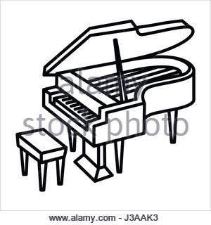 300x320 Black Grand Piano Icon Vector With Shadow. Realistic Keyboard