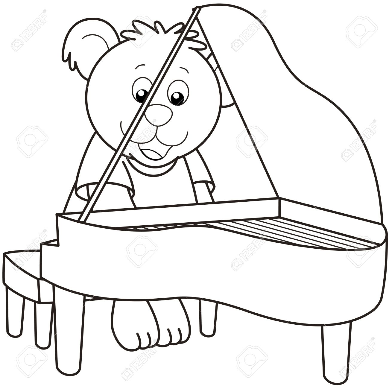 1300x1300 Cartoon Bear Playing A Piano.black And White Royalty Free Cliparts