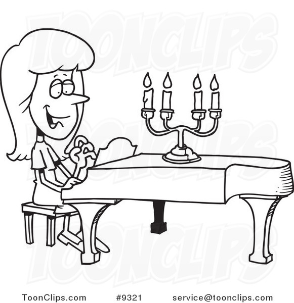 581x600 Cartoon Black And White Line Drawing Of A Lady Playing A Piano