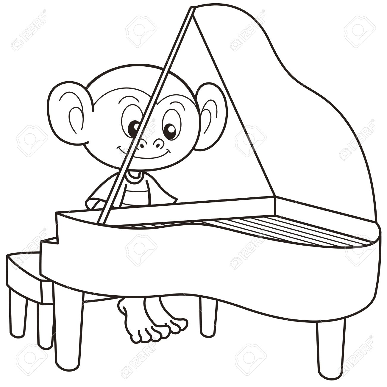 1300x1300 Cartoon Monkey Playing A Piano Black And White Royalty Free
