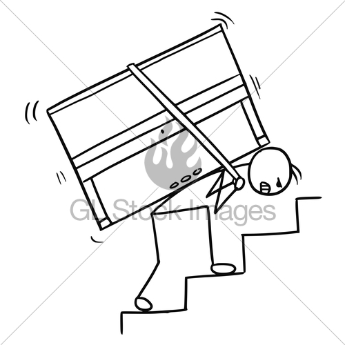 500x500 Cartoon Of A Man Carrying A Piano Up The Stairs Gl Stock Images