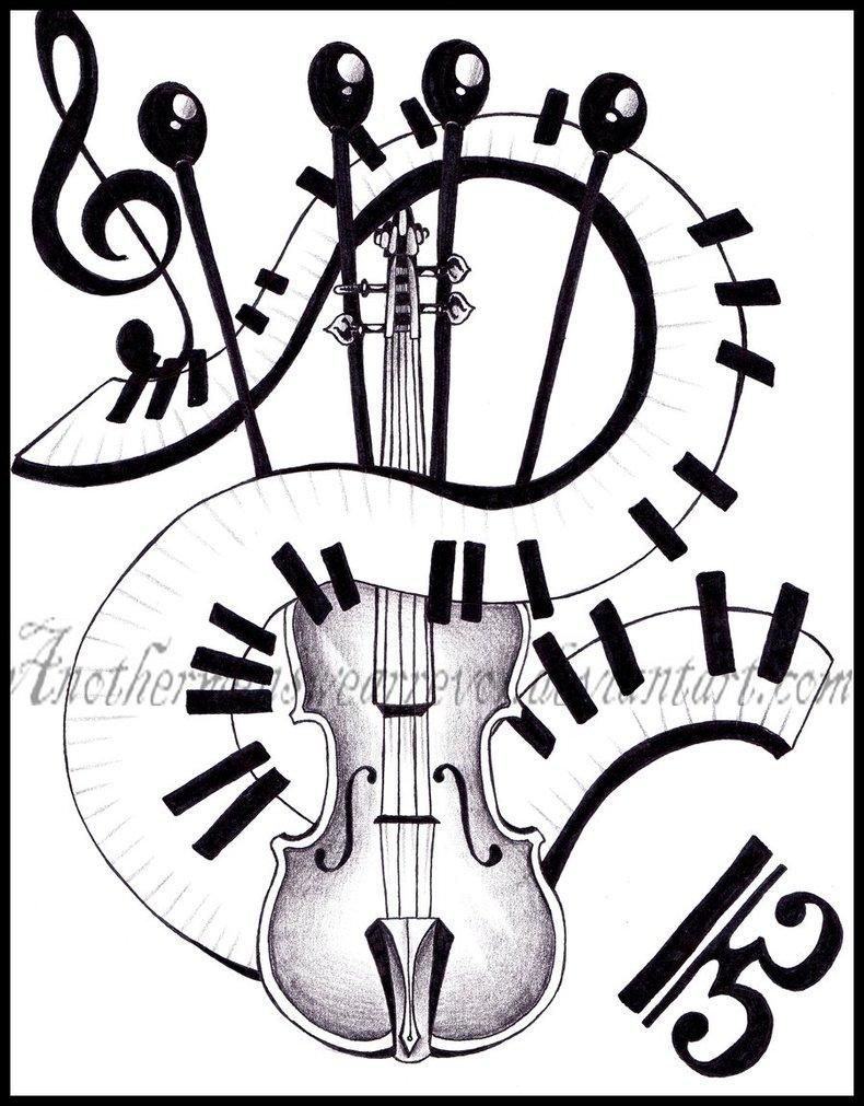 790x1011 Guitar And Piano Keys Tattoo Design