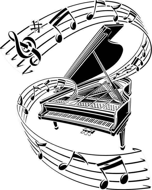 627x784 Awesome Grand Piano Tattoos