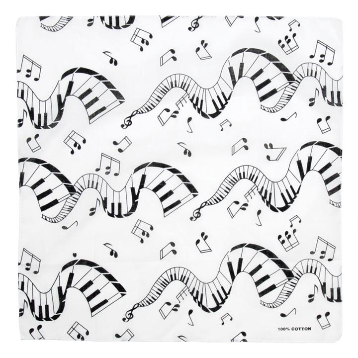 720x720 Piano Keys And Notes Bandana