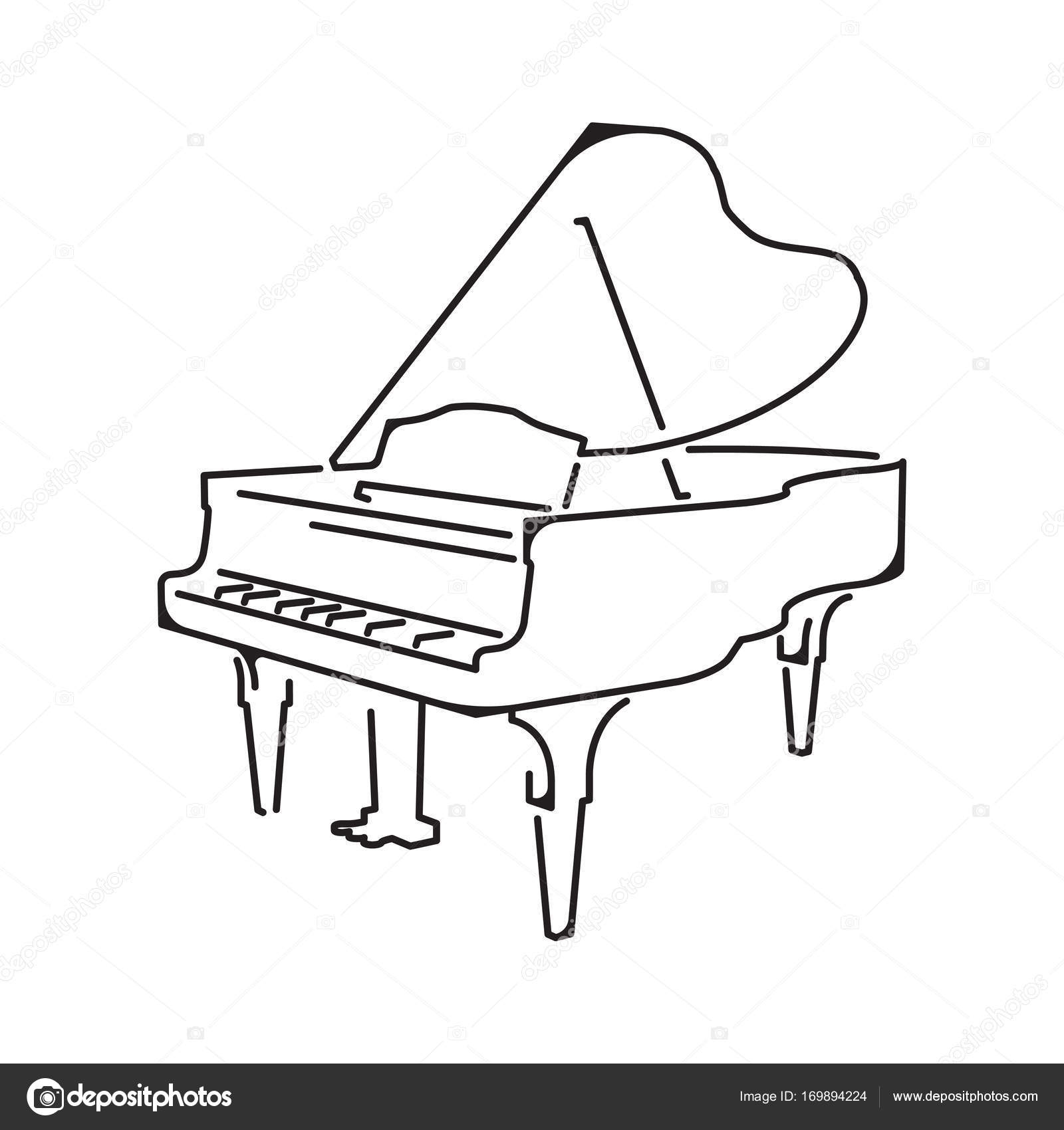 1600x1700 Piano Icon, Isolated On White Background Stock Vector Kovalto1