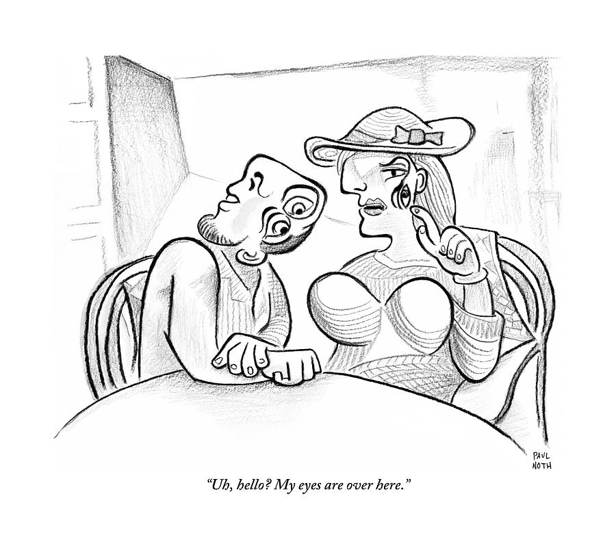 900x792 Picasso Esque Woman Speaks To Picasso Esque Man By Paul Noth