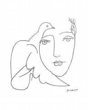 302x374 Picasso Drawing 05d Face Amp Dove Picasso, Drawings