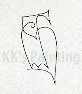 Picasso Owl Line Drawing