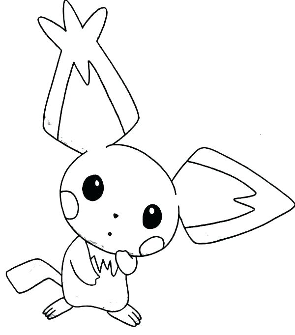 600x682 Pichu Coloring Pages Coloring Sheets Pointed Ear Is Amazed Page
