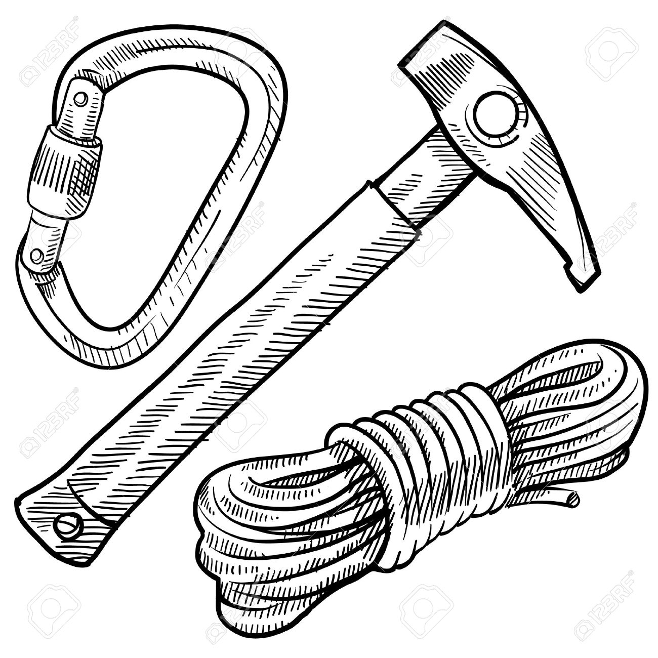 1300x1300 Doodle Style Mountain Climbing Gear Including Rope, Pick,
